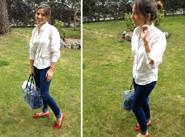la reina del low cost blog de moda barata total look oficina working girl style outfit tendencias 2013 pilar pascual cincosegundos pelo recogido labios rojos