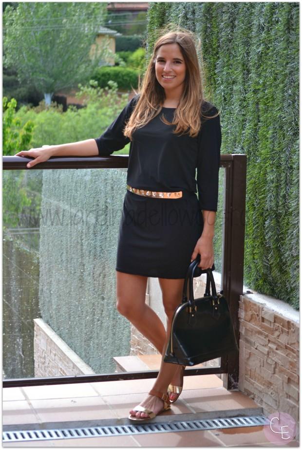 la reina del low cost blog de moda barata pilar pascual del riquelme outfit afterwork cinturon dorado metalico lourdes moreno alicante piedras vestido mulaya sandalias okeysi bolso botoncitos (2)