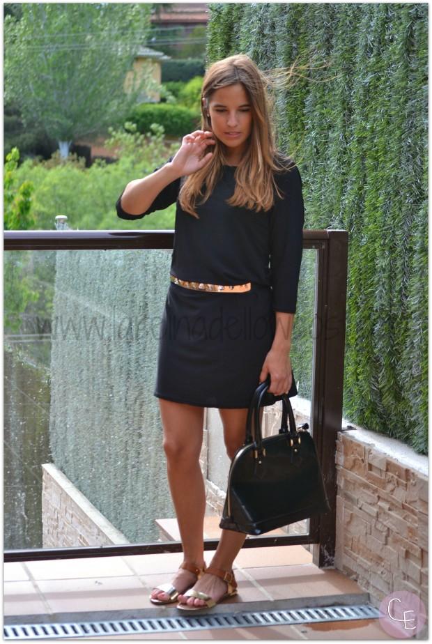 la reina del low cost blog de moda barata pilar pascual del riquelme outfit afterwork cinturon dorado metalico lourdes moreno alicante piedras vestido mulaya sandalias okeysi bolso botoncitos (3)