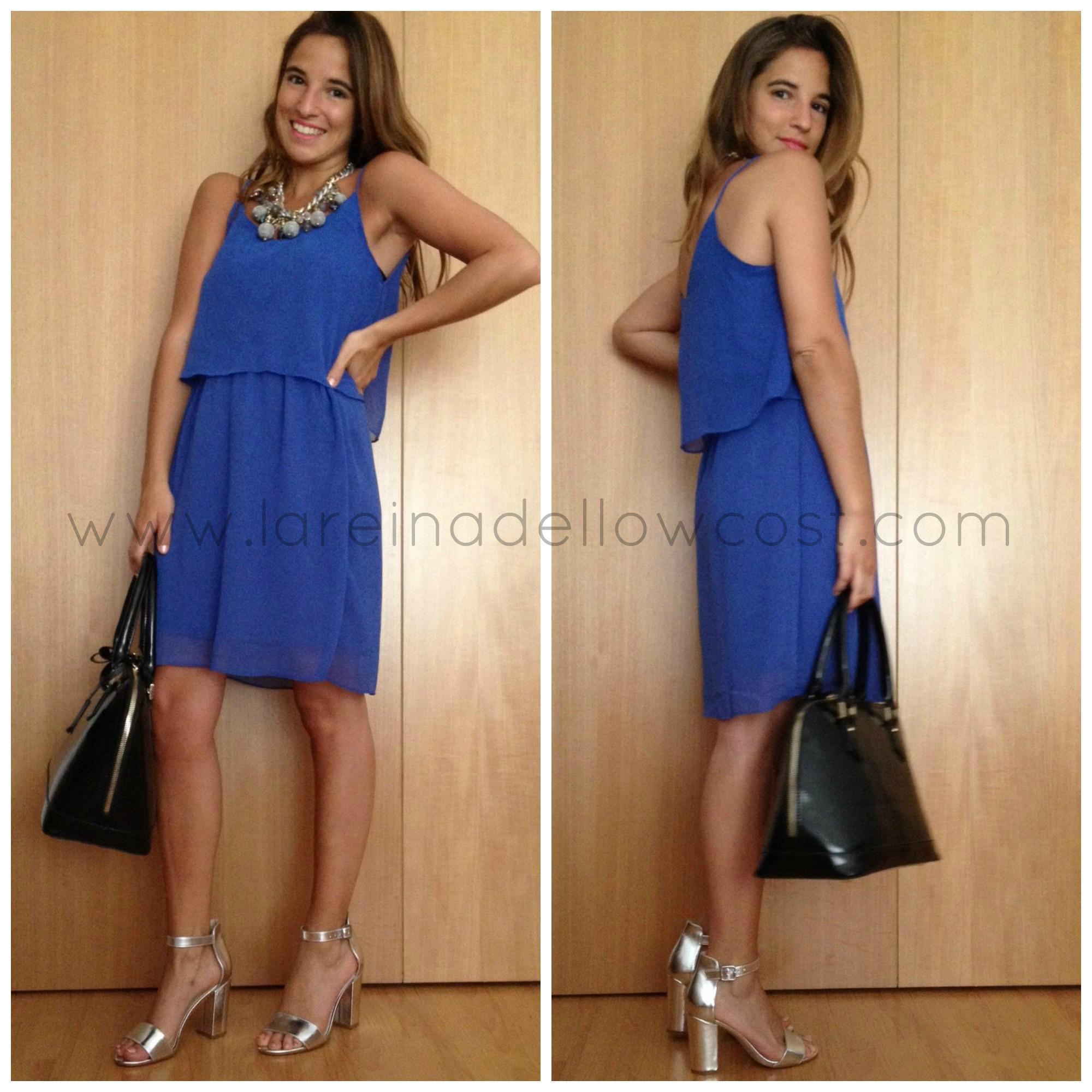 5ca1526e23 Vestido azul klein y complementos dorados - Vestido azul