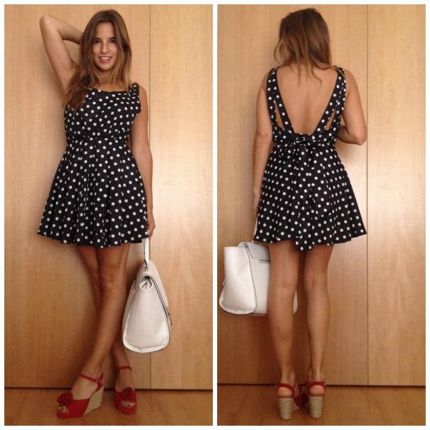 la reina del low cost blog de moda barata style outfit total look dulcevestir tienda de ropa online barata vestido de lunares negro vestido espalda al aire look verano 2014 pilar pascual del riquelme