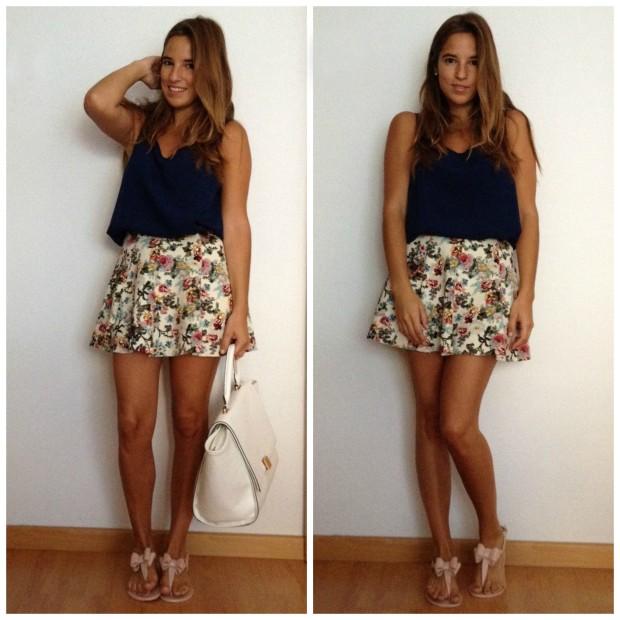 la reina del low cost pilar pascual del riquelme blogger madrid blogger alicante style outfit total look falda de flores que guapa tienda de ropa online barata