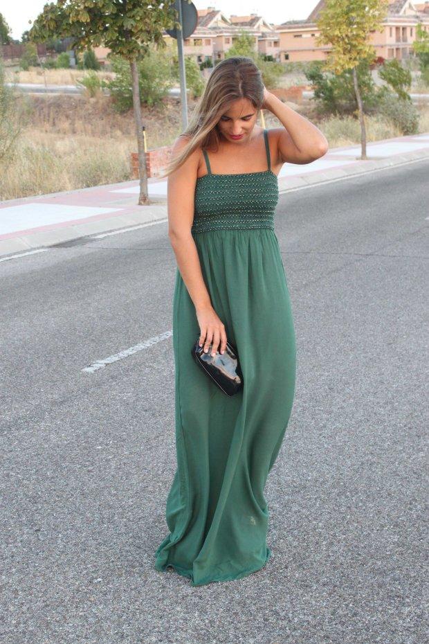la reina del low cost blog de moda barata style outfit total look pilar pascual del riquelme vestido largo verde look noche cuñas gioseppo tiendas low cost alicante blogger madrid ootd blogger alicante  (2)