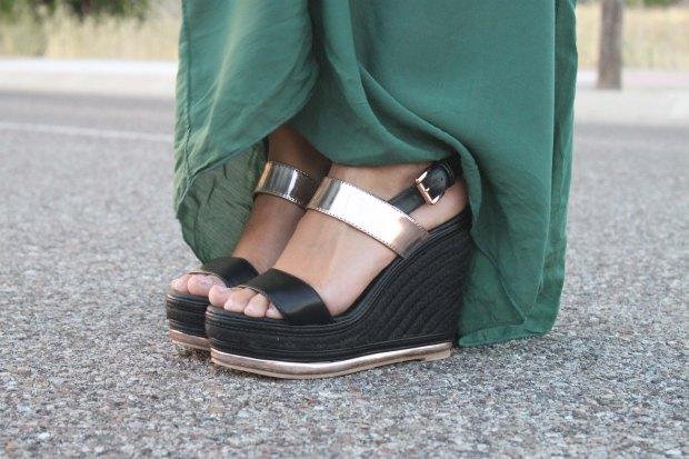 la reina del low cost blog de moda barata style outfit total look pilar pascual del riquelme vestido largo verde look noche cuñas gioseppo tiendas low cost alicante blogger madrid ootd blogger alicante  (8)