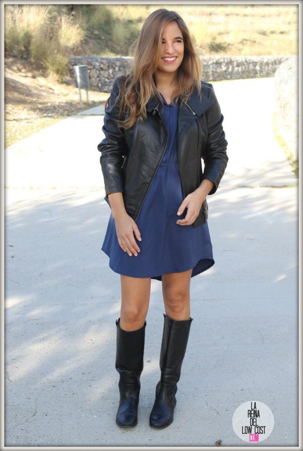 la reina del low cost chaqueta de cuero desigual vestido camisero azul klein dulcevestir tienda ropa online barata blogger madrid blogger alicante style outfit ootd look rockero vestido con botas otoñ