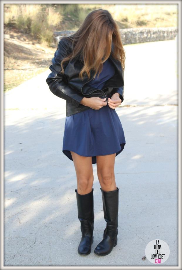 la reina del low cost chaqueta de cuero desigual vestido camisero azul klein dulcevestir tienda ropa online barata blogger madrid blogger alicante style outfit ootd look rockero vestido con botas otoñ (4)