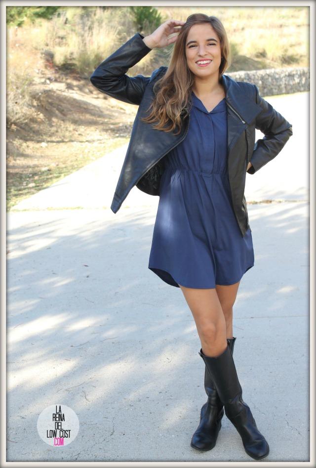 la reina del low cost chaqueta de cuero desigual vestido camisero azul klein dulcevestir tienda ropa online barata blogger madrid blogger alicante style outfit ootd look rockero vestido con botas otoñ (5)