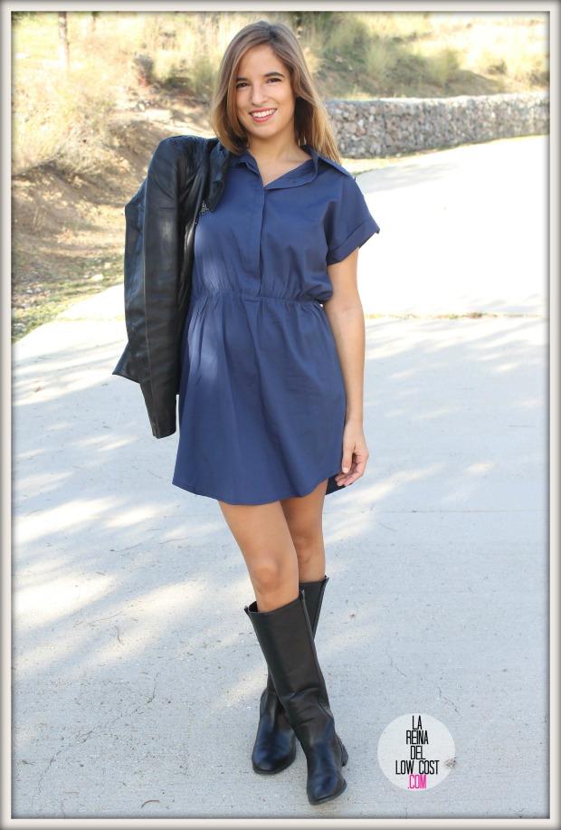 la reina del low cost chaqueta de cuero desigual vestido camisero azul klein dulcevestir tienda ropa online barata blogger madrid blogger alicante style outfit ootd look rockero vestido con botas otoñ (6)