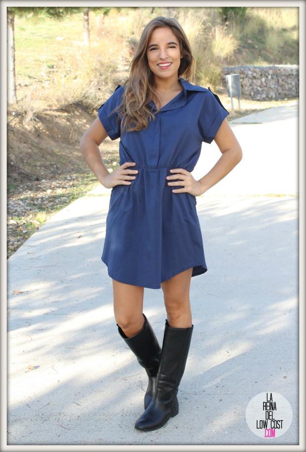 la reina del low cost chaqueta de cuero desigual vestido camisero azul klein dulcevestir tienda ropa online barata blogger madrid blogger alicante style outfit ootd look rockero vestido con botas otoñ (7)