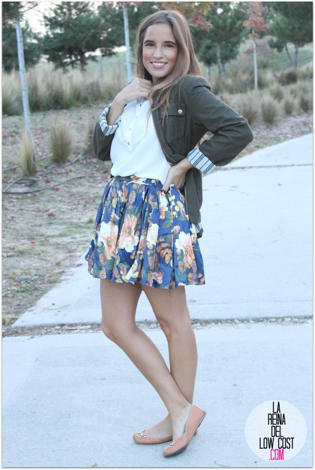 la reina del low cost pilar pascual del riquelme blogger madrid blogger alicante style outfit falda de flores otoño 2014 look tienda de ropa online barata chollomoda cazadora verde botella massimo dutti ma (2)