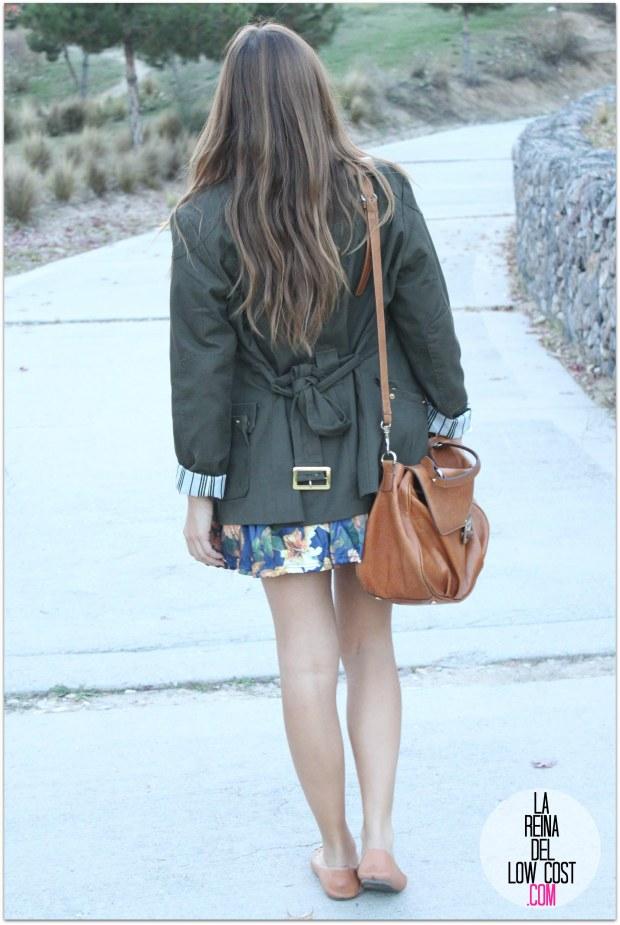 la reina del low cost pilar pascual del riquelme blogger madrid blogger alicante style outfit falda de flores otoño 2014 look tienda de ropa online barata chollomoda cazadora verde botella massimo dutti ma (4)