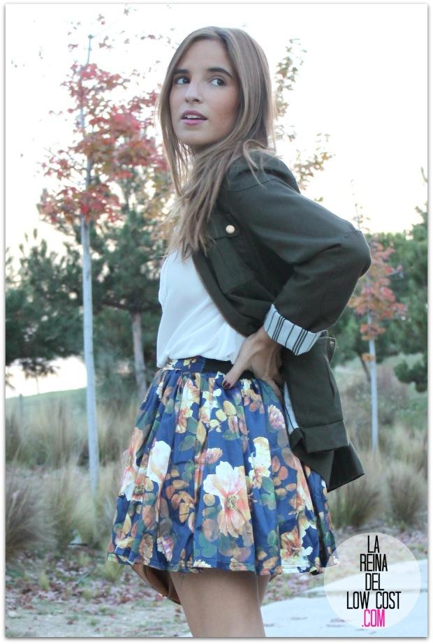 la reina del low cost pilar pascual del riquelme blogger madrid blogger alicante style outfit falda de flores otoño 2014 look tienda de ropa online barata chollomoda cazadora verde botella massimo dutti ma (5)
