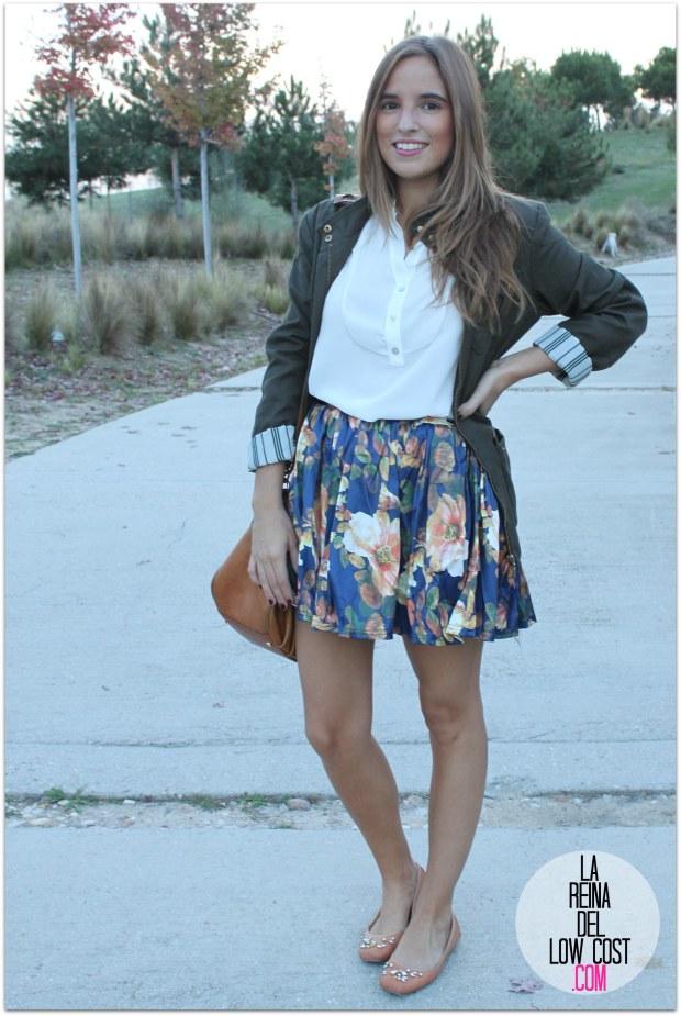 la reina del low cost pilar pascual del riquelme blogger madrid blogger alicante style outfit falda de flores otoño 2014 look tienda de ropa online barata chollomoda cazadora verde botella massimo dutti ma (6)