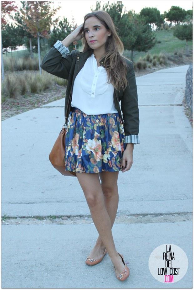la reina del low cost pilar pascual del riquelme blogger madrid blogger alicante style outfit falda de flores otoño 2014 look tienda de ropa online barata chollomoda cazadora verde botella massimo dutti ma (7)