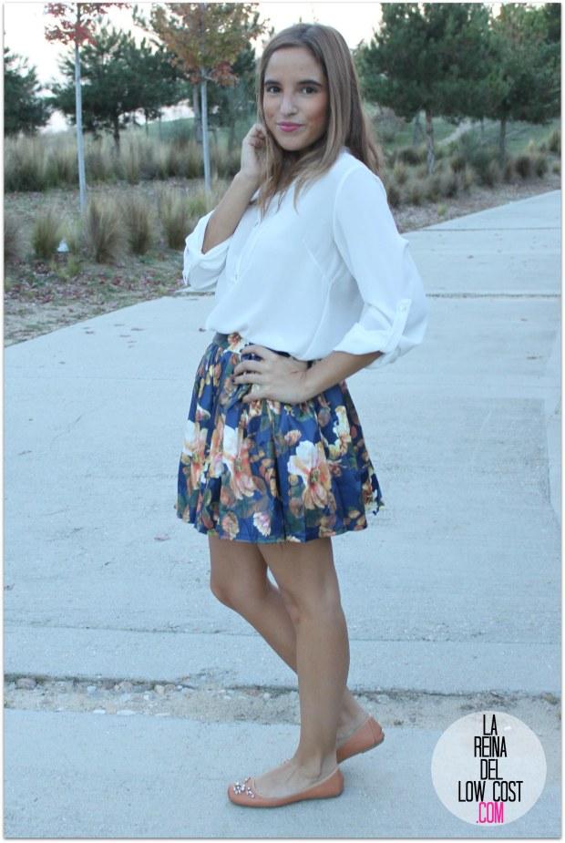 la reina del low cost pilar pascual del riquelme blogger madrid blogger alicante style outfit falda de flores otoño 2014 look tienda de ropa online barata chollomoda cazadora verde botella massimo dutti ma (8)