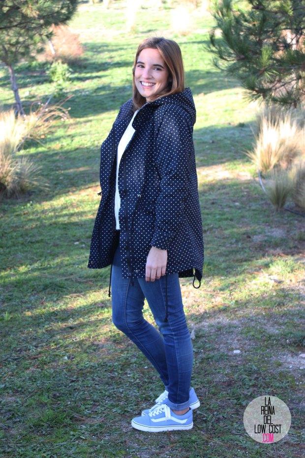 abrigo de lunares chaqueta de topos chollomoda vans outlet pilar pascual del riquelme la reina del low cost okeysi jersey pantalones vaqueros look comodo para el frio dia en el campo (8)