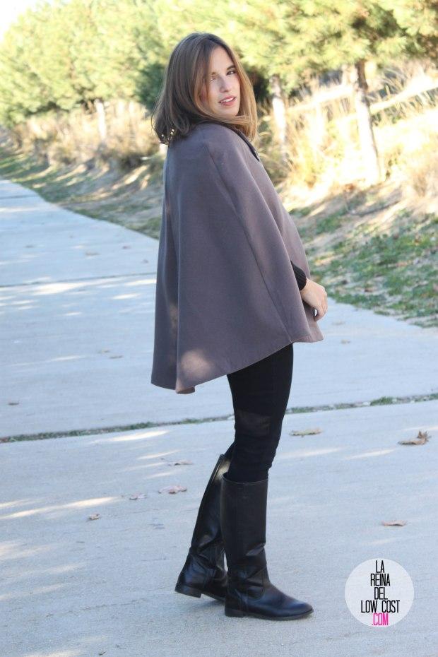 kimod barcelona la reina del low cost capa invierno 2014 style tendencias blog de moda total look para ir a la oficina botas altas negras jersey con volante que guapa pull and bear bershka
