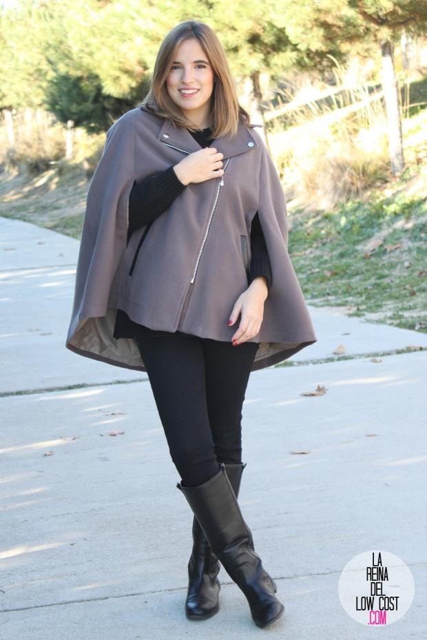 kimod barcelona la reina del low cost capa invierno 2014 style tendencias blog de moda total look para ir a la oficina botas altas negras jersey con volante que guapa pull and bear bershka (2)