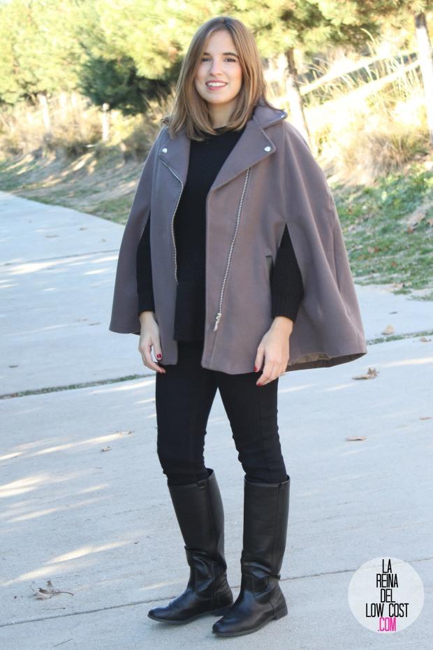 kimod barcelona la reina del low cost capa invierno 2014 style tendencias blog de moda total look para ir a la oficina botas altas negras jersey con volante que guapa pull and bear bershka (3)