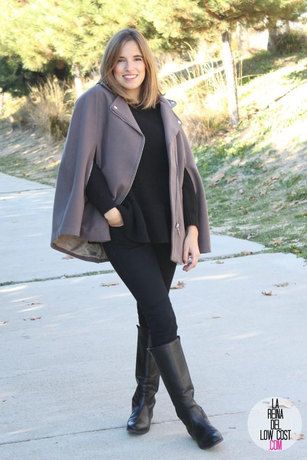 kimod barcelona la reina del low cost capa invierno 2014 style tendencias blog de moda total look para ir a la oficina botas altas negras jersey con volante que guapa pull and bear bershka (4)