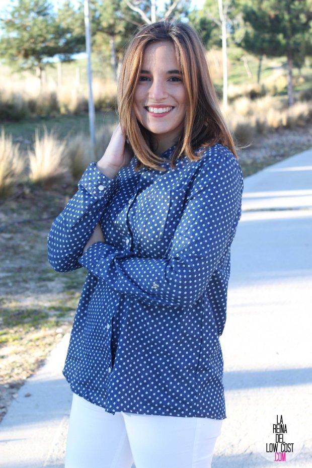 kimod blog de moda barata la reina del low cost pilar pascual del riquelme camisa vaquera camisa con lunares camisa topos bershka primark kimod barcelona tienda online de ropa barata style outfit look