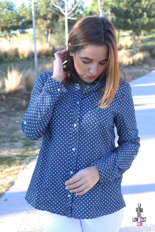 kimod blog de moda barata la reina del low cost pilar pascual del riquelme camisa vaquera camisa con lunares camisa topos bershka primark kimod barcelona tienda online de ropa barata style outfit look (2)