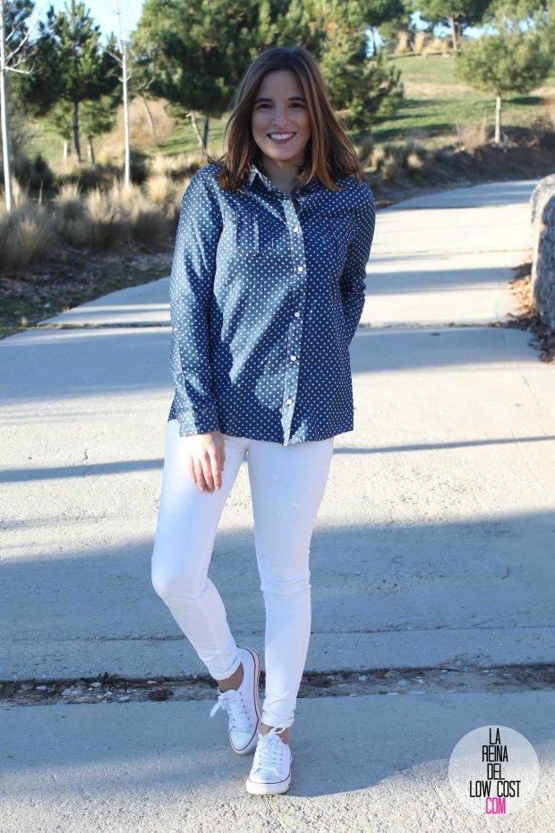 kimod blog de moda barata la reina del low cost pilar pascual del riquelme camisa vaquera camisa con lunares camisa topos bershka primark kimod barcelona tienda online de ropa barata style outfit look (3)