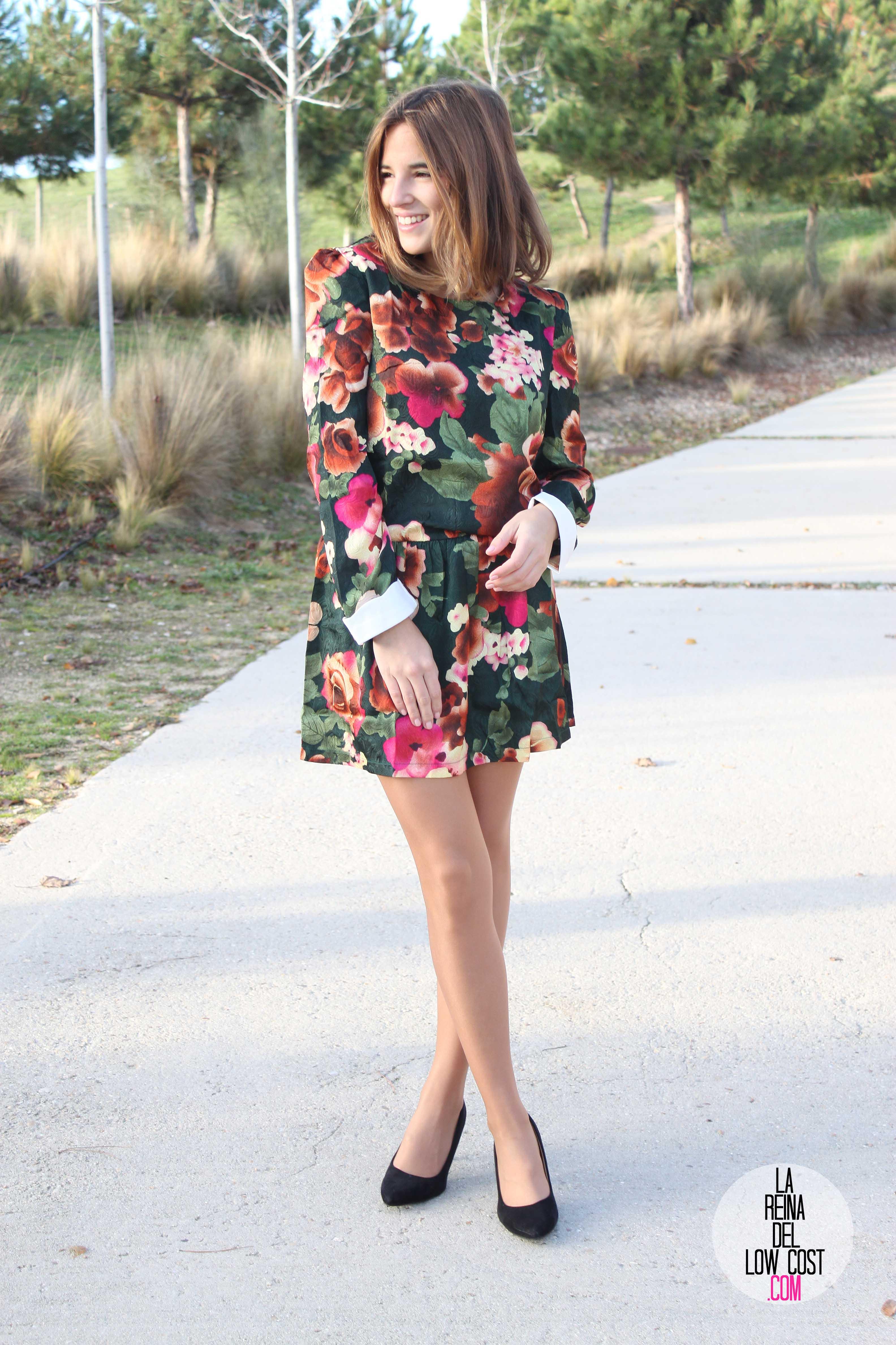 Vestido de flores look para cena de empresa 2014 la for Look para cena informal amigas