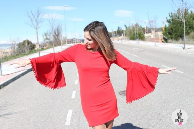 La Reina del Low Cost vestido volante mangas vestido rojo lourdes moreno look feria andalucia moda low cost blog e moda barata style outfit ootd total look noche de fiesta salir cena con  (3)