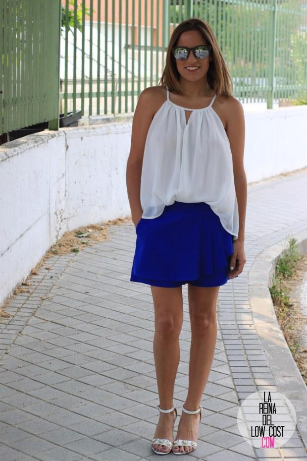 la reina del low cost falda pantalon azul skort 2015 verano gafas espejo madera 705 sunglasses camiseta mulaya sandalias blancas tienda de ropa online barata dulcevestir  (8)