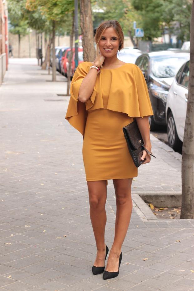 la reina del low cost vestido mostaza espalda al aire otoño 2015 el vestidor de la moda barato total look boda invierno granate tacones primark zapatos bolso roberto verino