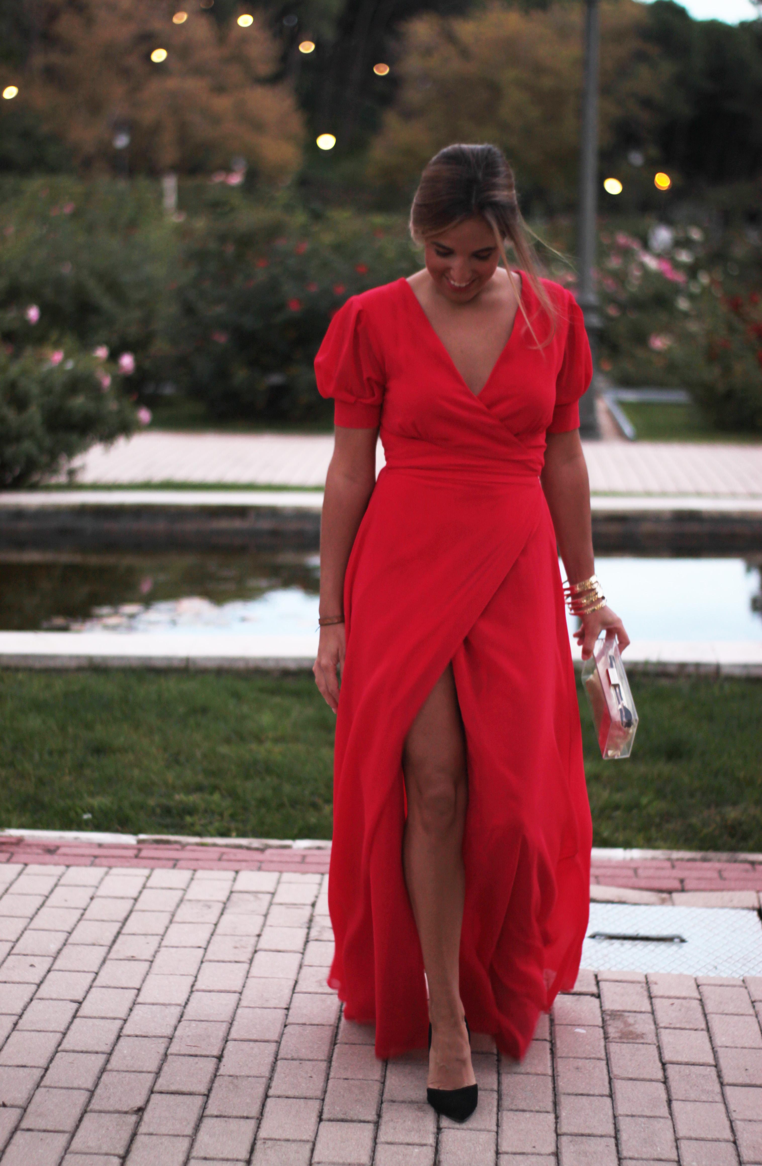 Vestido rojo largo boda noche