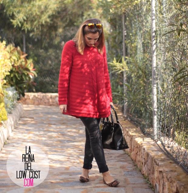 la reina del low cost look comodo diario jersey rojo ancho pantalones pitillo negros bailarinas leopardo lourdes moreno gafas sol espejo bamboomm (3)