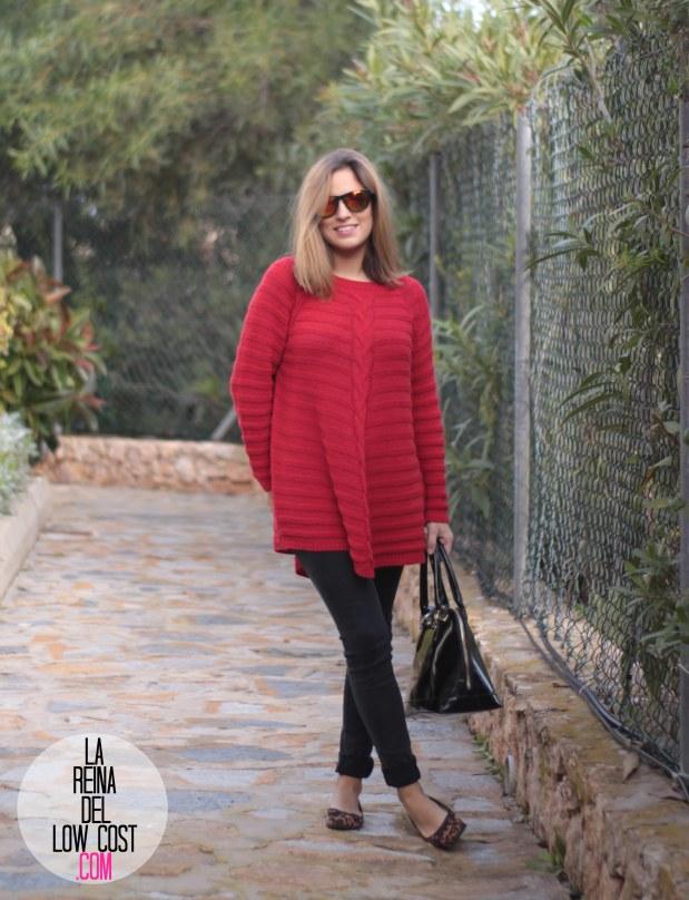 la reina del low cost look comodo diario jersey rojo ancho pantalones pitillo negros bailarinas leopardo lourdes moreno gafas sol espejo bamboomm (4)