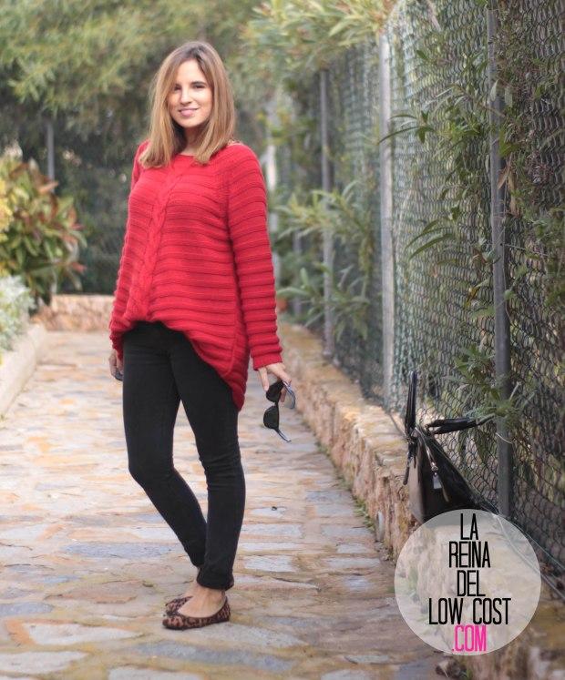 la reina del low cost look comodo diario jersey rojo ancho pantalones pitillo negros bailarinas leopardo lourdes moreno gafas sol espejo bamboomm (5)