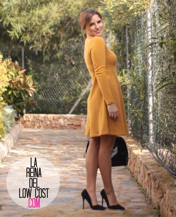 la reina del low cost look para ir a la oficina sencillo vestido punto mostaza tacones primark elvestidordelamoda tienda online diciembre 2015 otoño invierno (2)