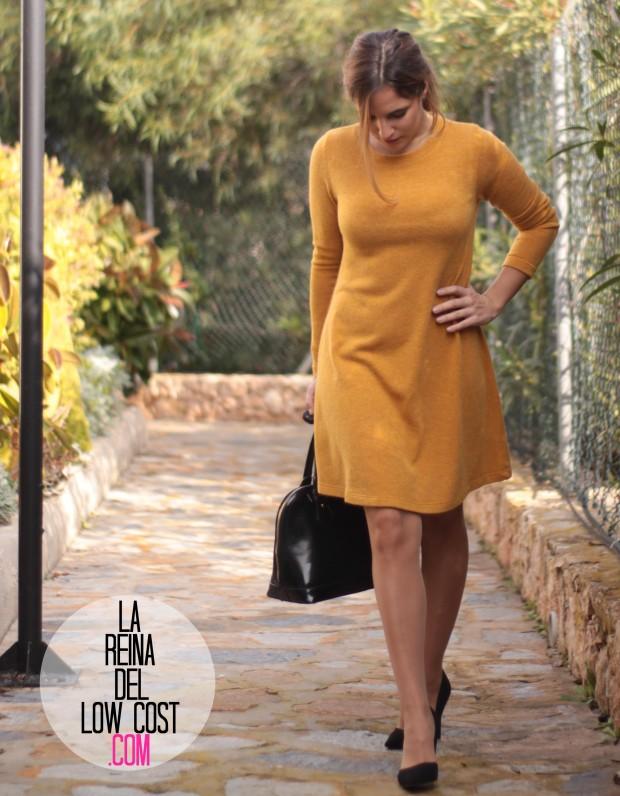 la reina del low cost look para ir a la oficina sencillo vestido punto mostaza tacones primark elvestidordelamoda tienda online diciembre 2015 otoño invierno (3)