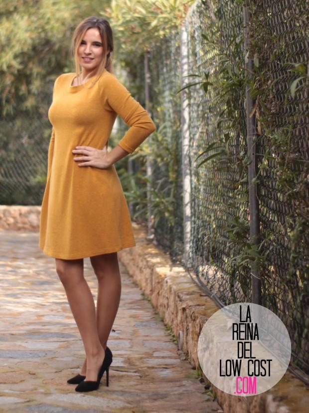 la reina del low cost look para ir a la oficina sencillo vestido punto mostaza tacones primark elvestidordelamoda tienda online diciembre 2015 otoño invierno (4)