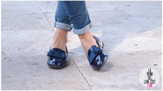 la reina del low cost look reunion informal camiseta peplum rayas marineras azul marino vaqueros chollomoda zara trafaluc mulaya zapatos tienda online primavera 2016 blogger españa ma