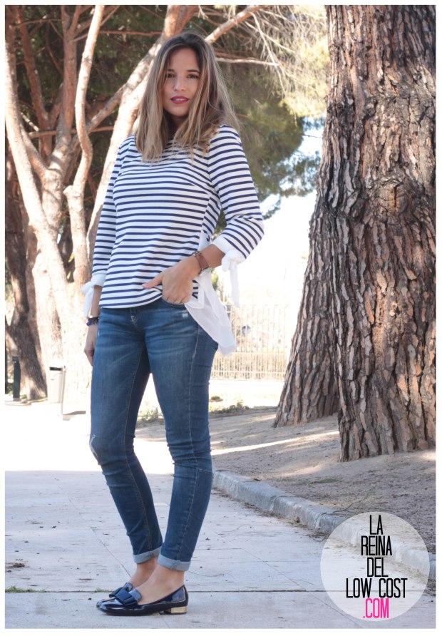 la reina del low cost look reunion informal camiseta peplum rayas marineras azul marino vaqueros chollomoda zara trafaluc mulaya zapatos tienda online primavera 2016 blogger españa ma (2)