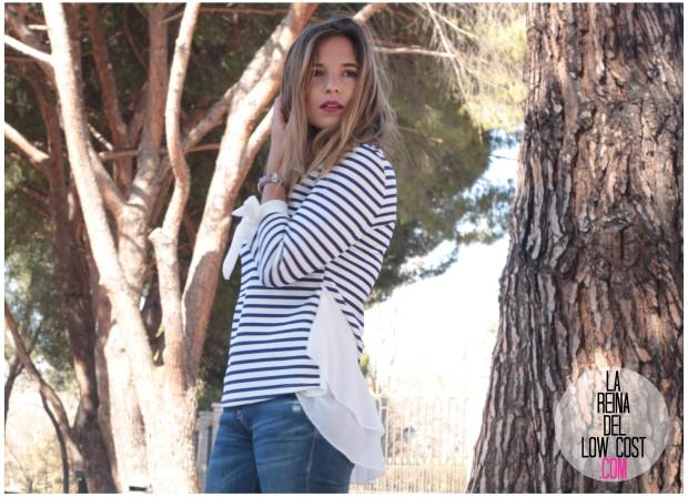 la reina del low cost look reunion informal camiseta peplum rayas marineras azul marino vaqueros chollomoda zara trafaluc mulaya zapatos tienda online primavera 2016 blogger españa ma (4)