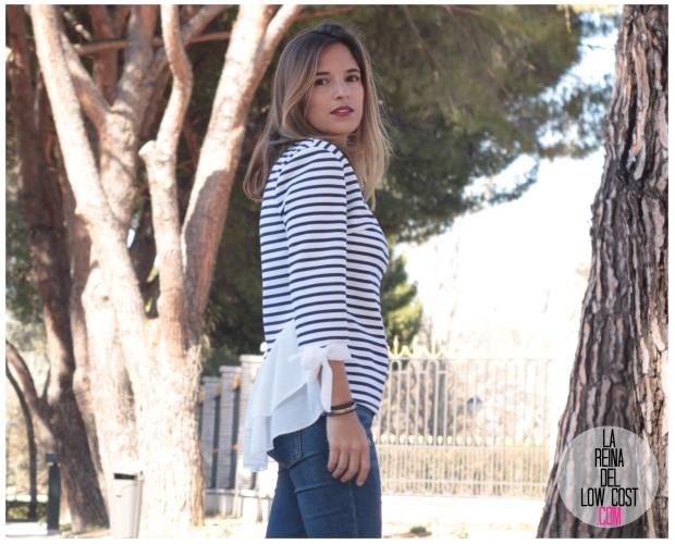 la reina del low cost look reunion informal camiseta peplum rayas marineras azul marino vaqueros chollomoda zara trafaluc mulaya zapatos tienda online primavera 2016 blogger españa ma (5)