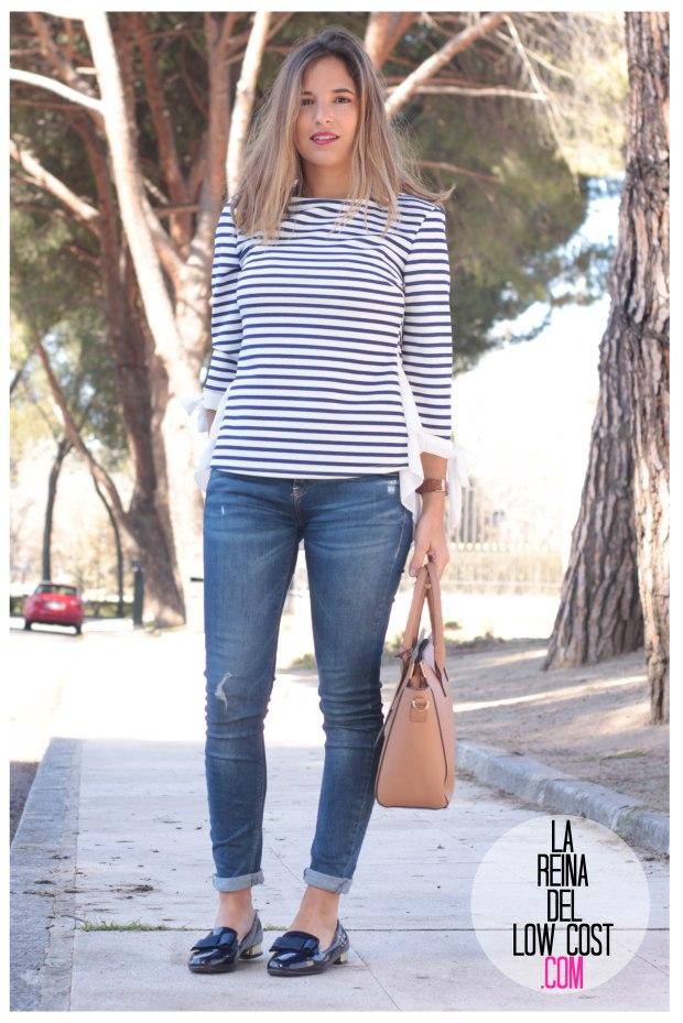 la reina del low cost look reunion informal camiseta peplum rayas marineras azul marino vaqueros chollomoda zara trafaluc mulaya zapatos tienda online primavera 2016 blogger españa ma (8)