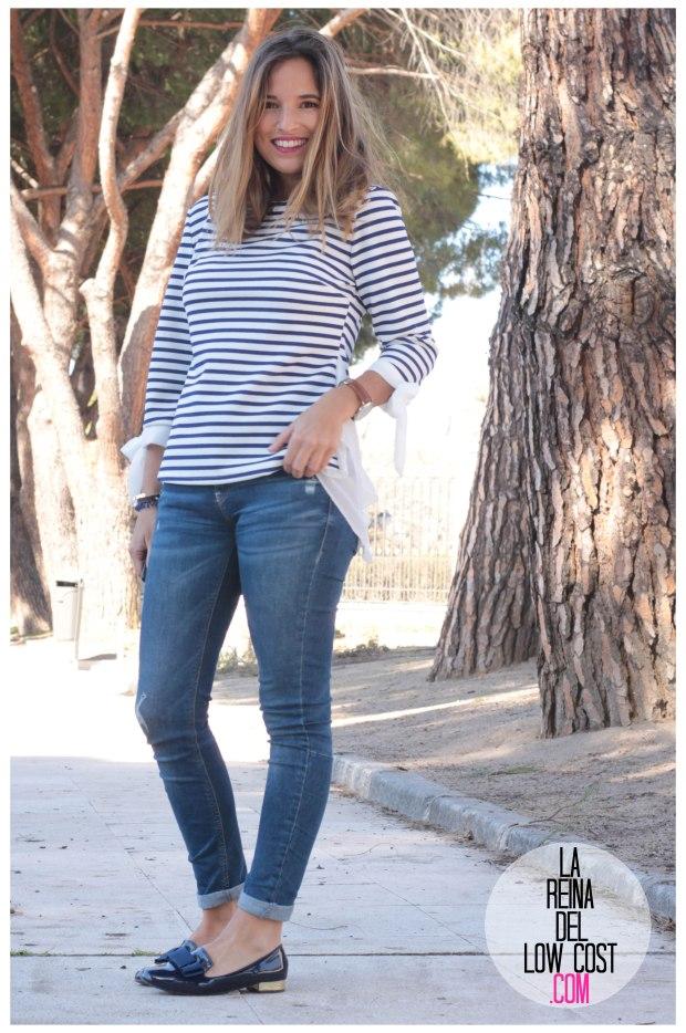la reina del low cost look reunion informal camiseta peplum rayas marineras azul marino vaqueros chollomoda zara trafaluc mulaya zapatos tienda online primavera 2016 blogger españa madrid