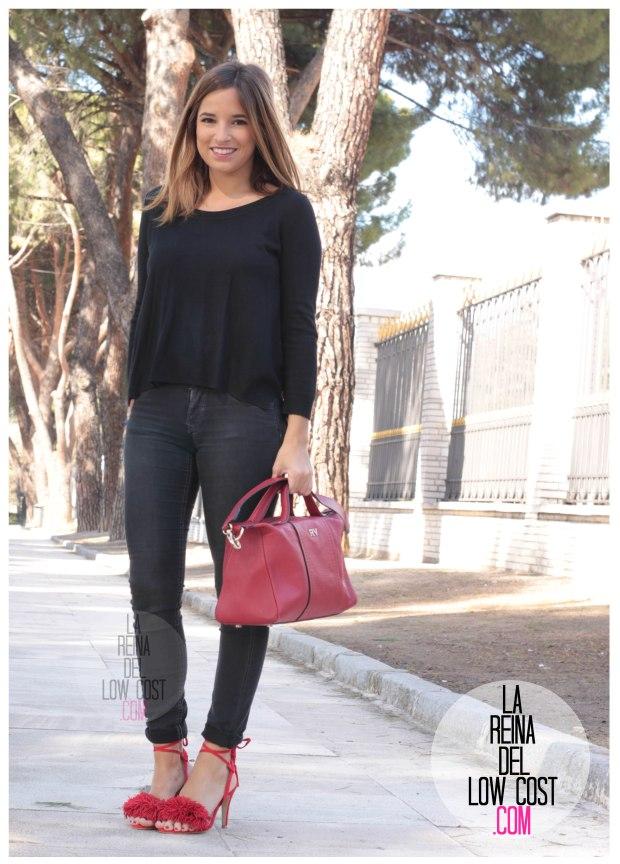 la reina del low cost sandalias rojas estilo aquazzura rojas pompones lourdes moreno facebook pantalones vaqueros h&m bolso piel roberto verino rojo (4)