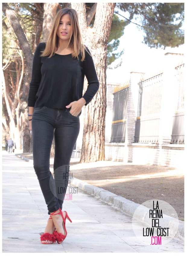 la reina del low cost sandalias rojas estilo aquazzura rojas pompones lourdes moreno facebook pantalones vaqueros h&m bolso piel roberto verino rojo (5)