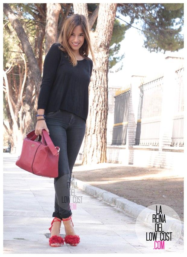 la reina del low cost sandalias rojas estilo aquazzura rojas pompones lourdes moreno facebook pantalones vaqueros h&m bolso piel roberto verino rojo (6)