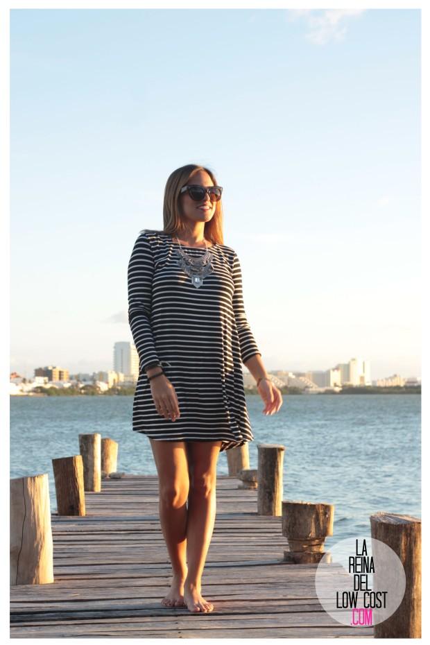 la reina del low cost total look vestido rayas marinero lourdes moreno comprar ropa online primavera 2016 mexico collar etnico nephra blogger españa madrid (11)