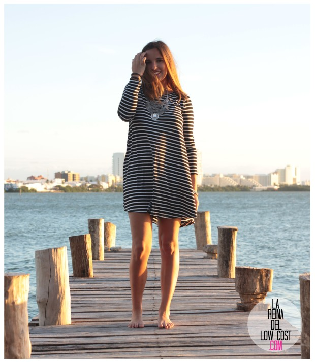 la reina del low cost total look vestido rayas marinero lourdes moreno comprar ropa online primavera 2016 mexico collar etnico nephra blogger españa madrid (13)