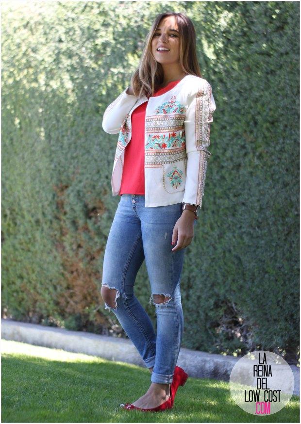 la reina del low cost blog de moda real chaqueta bordada blanca lentejuelas lourdes moreno opiniones tienda ropa barata facebook pantalones rotos pull&Bear bailarinas tacon rojas blusa primark rebajas online pilar pascual del riquelme blogger madrid mexico cancun look primavera verano 2016